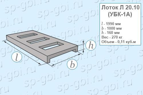 Размеры, объем, вес лотка Л 20.10 (УБК-1а)