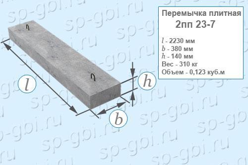 Перемычка плитная 2ПП 23-7