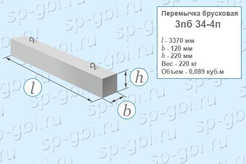 Перемычка брусковая 3ПБ 34-4п