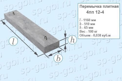 Перемычка плитная 4ПП 12-4