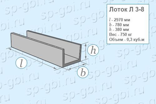 Лоток теплотрасс Л 3-8