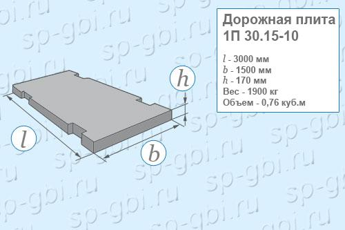 Плита дорожная 1П 30.15-10
