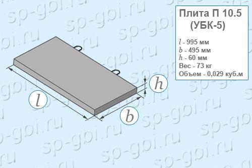 Размеры, объем, вес плиты П 10.5 (УБК-5)