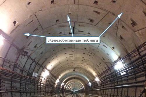 """alt=""""Железобетонные тюбинги на сводах тоннеля"""""""