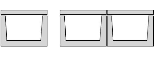 Одноячейковая и двухячейковая конструкция из лотков теплотрасс